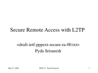 Secure Remote Access with L2TP