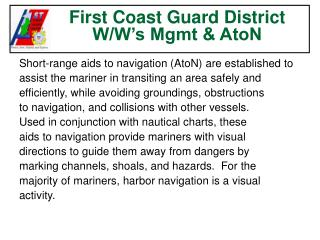 First Coast Guard District  W/W's Mgmt & AtoN