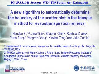IGARSS2011 Session: WE4.T09 Parameter Estimation
