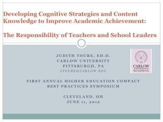 Judith Toure, Ed.D. Carlow  university Pittsburgh, pa jtoure@carlow