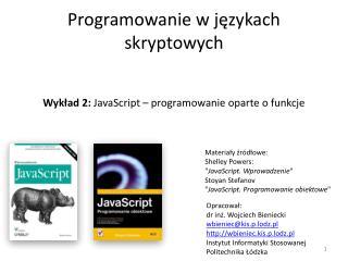 Programowanie w j?zykach skryptowych