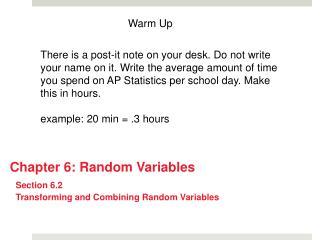 Chapter 6: Random Variables