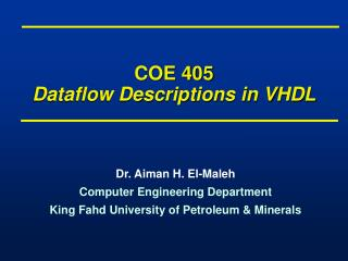 COE 405 Dataflow Descriptions in VHDL