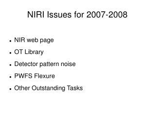 NIRI Issues for 2007-2008