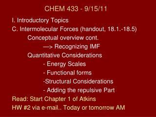CHEM 433 - 9/15/11