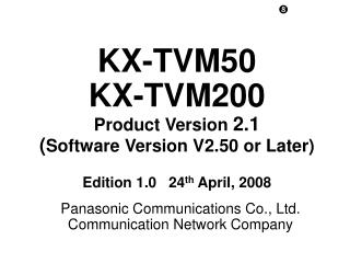 Panasonic Communications Co., Ltd. Communication Network Company