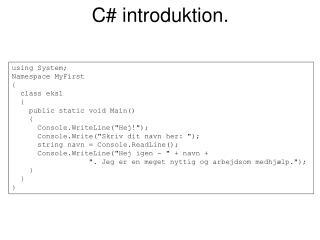 C# introduktion.