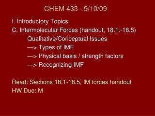 CHEM 433 - 9/10/09