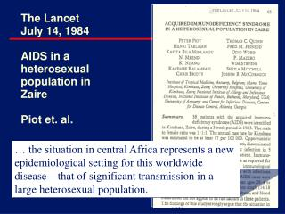 The Lancet July 14, 1984 AIDS in a heterosexual population in Zaire Piot et. al.