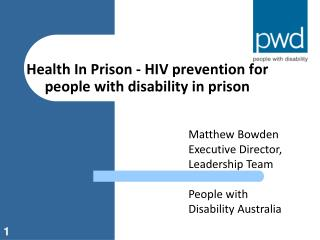 Health In Prison - HIV prevention for people with disability in prison