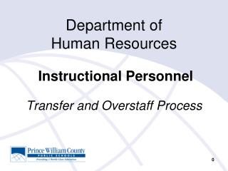 Department of  Human Resources Instructional Personnel Transfer and Overstaff Process