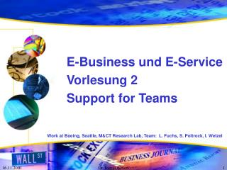 E-Business und E-Service Vorlesung 2 Support for Teams