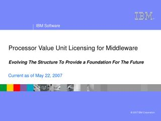 Processor Value Unit Licensing for Middleware