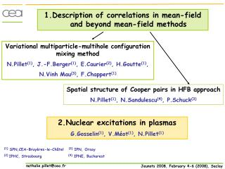 1.Description of correlations in mean-field and beyond mean-field methods