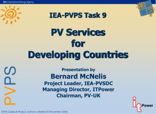 IEA-PVPS Task 9 PV Services for Developing Countries