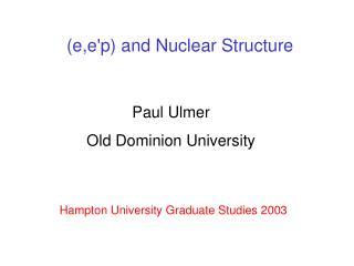 Hampton University Graduate Studies 2003