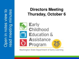 Directors Meeting Thursday, October 6