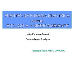FUENTES DE ENERGÍA ELÉCTRICA versus  ECOLOGÍA Y MEDIOAMBIENTE