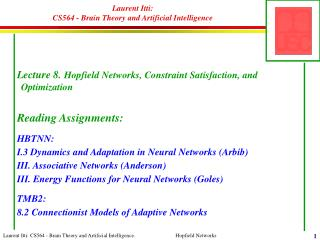 Laurent Itti:  CS564 - Brain Theory and Artificial Intelligence