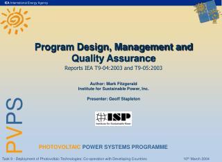 Program Design, Management and Quality Assurance