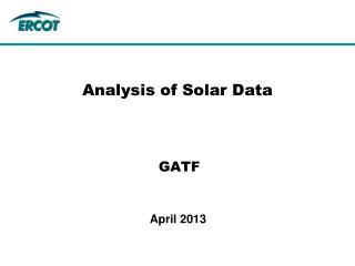 Analysis of Solar Data