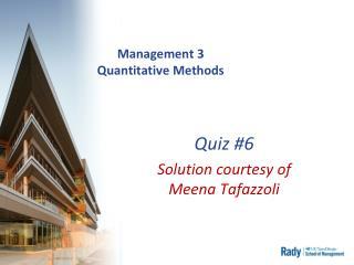 Management 3 Quantitative Methods