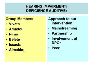 HEARING IMPAIRMENT/ DEFICIENCE AUDITIVE: