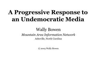 A Progressive Response to