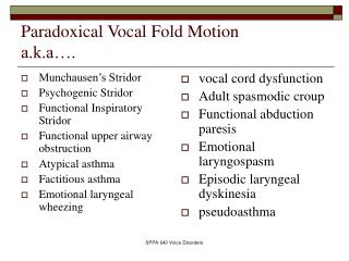 Paradoxical Vocal Fold Motion a.k.a….