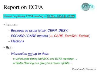 Report on ECFA