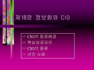 제 18 장 정보화와  CIO