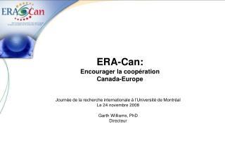 ERA-Can: Encourager la coopération Canada-Europe
