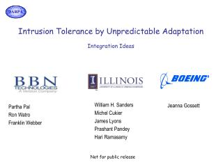 Intrusion Tolerance by Unpredictable Adaptation Integration Ideas