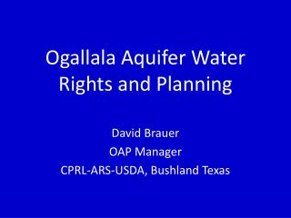Ogallala Aquifer Water Rights and Planning