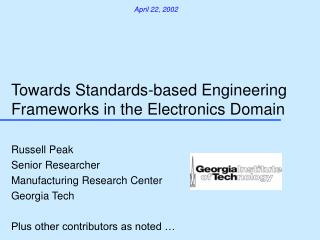 Towards Standards-based Engineering Frameworks in the Electronics Domain