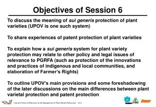 Objectives of Session 6