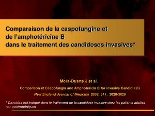 Mora-Duarte J et al.  Comparison of Caspofungin and Amphotericin B for invasive Candidiasis