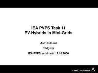 IEA PVPS Task 11 PV-Hybrids in Mini-Grids