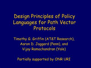 Design Principles of Policy Languages for Path Vector Protocols