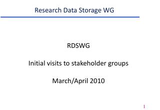 Research Data Storage WG