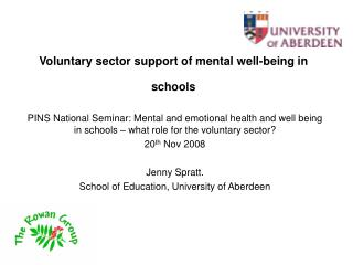 Voluntary sector support of mental well-being in schools