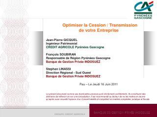 Optimiser la Cession / Transmission  de votre Entreprise Jean-Pierre GICQUEL