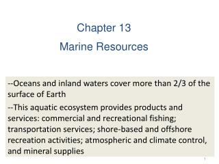 Chapter 13 Marine Resources