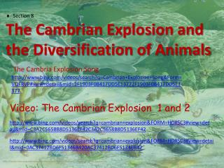 Section  8      The  Cambrian Explosion and the Diversification of Animals