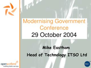 Modernising Government Conference 29 October 2004