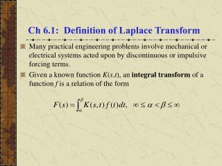 Ch 6.1:  Definition of Laplace Transform