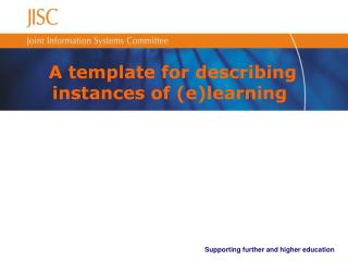 A template for describing instances of (e)learning