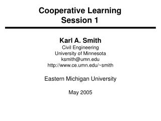Cooperative Learning Session 1