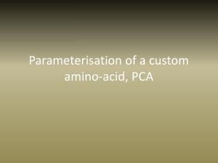 Parameterisation of a custom amino-acid, PCA