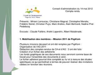 Conseil d'administration du 14 mai 2012 Compte-rendu